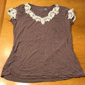 Cool Nights by Soma sleep shirt, S, plum with Lace